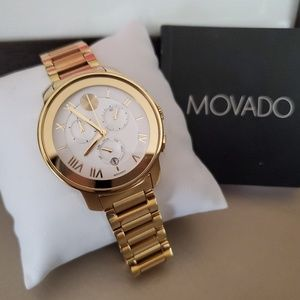 RARE! Movado BOLD Gold & White Chronograph watch